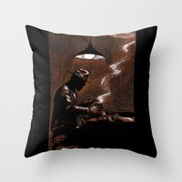 bar Throw Pillows featuring Noir Bar by David Miley