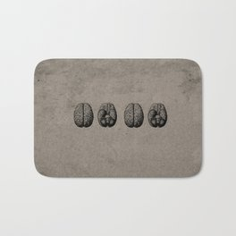 Row o' Brains - Engraving - Vintage - Old Black, White & Brown Bath Mat