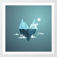 low poly Art Prints featuring Low Poly Polar Bear by scarriebarrie