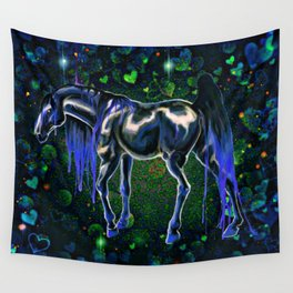 Blue Love Horse Wall Tapestry
