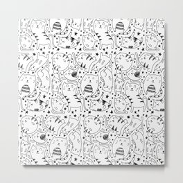 Cat Pattern Illustration Metal Print