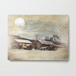 Blissful Winter Farm Metal Print
