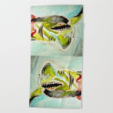 Great White Shark Attack Beach Towel