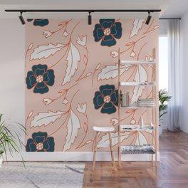 Pastel pink orange navy blue hand painted floral pattern Wall Mural
