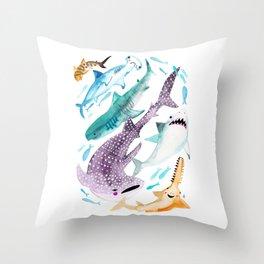 Help Stop Shark Finning - Watercolor Ocean Animals - Fish Throw Pillow