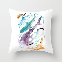 Help Stop Shark Finning - Watercolor Ocean Animals - Fish Throw Pillow