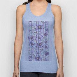 Watercolor purple lavender lilac floral stripes Unisex Tank Top