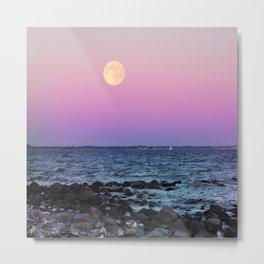 #full #moon #Blue #hour #over the #sea Metal Print