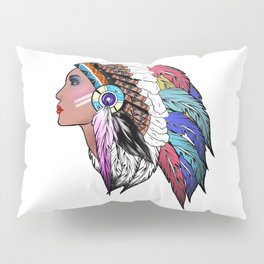 Native American woman,Indian American design Pillow Sham