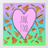 junk food Canvas Prints featuring JUNK FOOD by SteffiMetal
