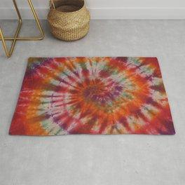 Tie Dye Rainbow Spiral Galaxy Rug