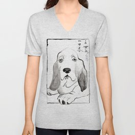 Basset Hound in Japanese Ink Wash Unisex V-Neck