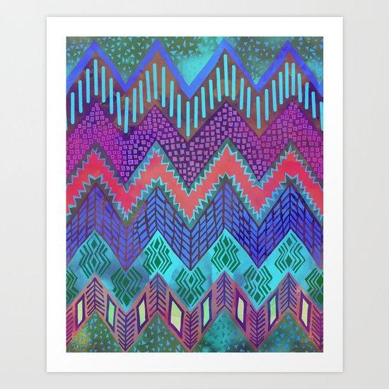 Tribal Chevron - Aqua Art Print