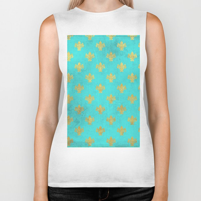 Queenlike on aqua I  Gold Heraldry elements on turquoise background Biker Tank