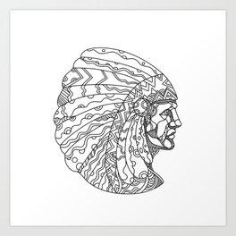 American Plains Indian with War Bonnet Doodle Art Print