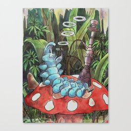 Psychedelic Hookah-Smoking Caterpillar Canvas Print