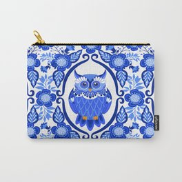 Delft Blue and White Owls and Flowers Carry-All Pouch