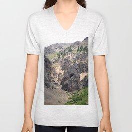 Gold Rush Prospect Hole High Above the Animas River Unisex V-Neck