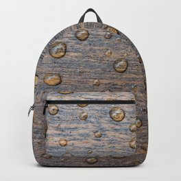 Water Drops on Wood 6 Backpack