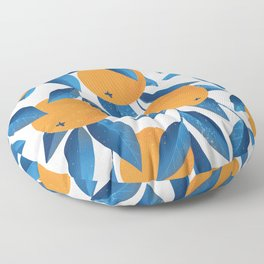Vintage oranges on a branch with leaves hand drawn illustration pattern Floor Pillow