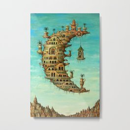 'Living on the Moon' surrealist landscape painting Metal Print