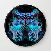 foxes Wall Clocks featuring Foxes by Edward Yeung