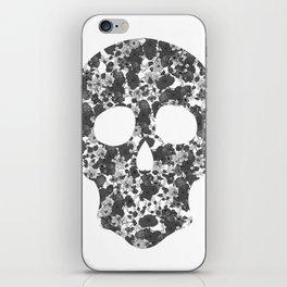 Black and White, Flower Skull iPhone Skin