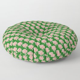 Woodcut Flower on Green Floor Pillow