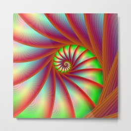 Staircase Spiral in Orange Blue and Green Metal Print
