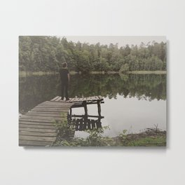 Human loneliness by the lake Metal Print