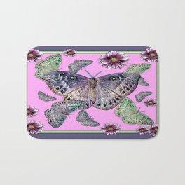 Puce Grey-Purple Fluttering Moths-Butterflies Dahlia Floral Bath Mat