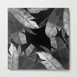 Tropical Palm Print Black and White Metal Print