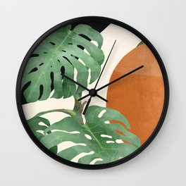 Tropical Leaves- Abstract Art  Wall Clock