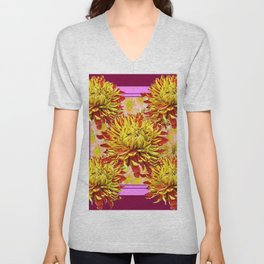 Stylized Abstracted Burgundy Yellow Chrysanthemums Floral Unisex V-Neck