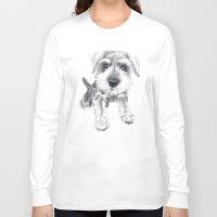 schnauzer Long Sleeve T-shirts featuring Schnozz the Schnauzer by Beth Thompson