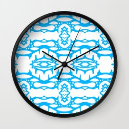 Stalagmite - Tiling Symmetrical Abstract in Blue and White Wall Clock
