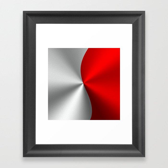 Metallic Red & Silver Geometric Design Gerahmter Kunstdruck
