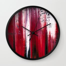 Abstract artwork #29 - Red Ocean waves - Red Sea waves - Red waves - Red Abstract Painting Wall Clock
