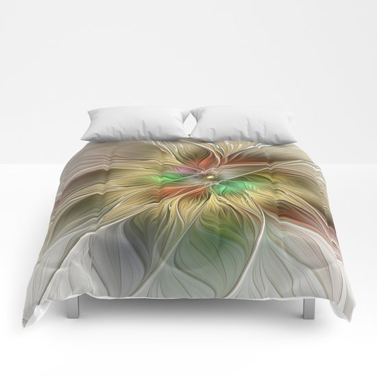 Golden Flourish, Abstract Fractal Art Comforters