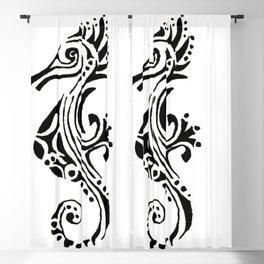 seahorse tatoo white Blackout Curtain
