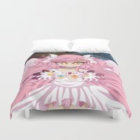 madoka Duvet Covers featuring You Are Not Alone by Corpse Cutie