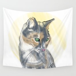 Green Eyed Cat Wall Tapestry