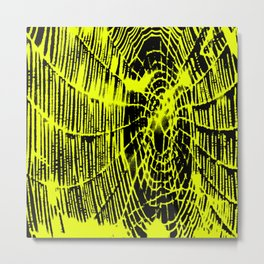 Intricate Halloween Spider Web Yellow Palette Metal Print