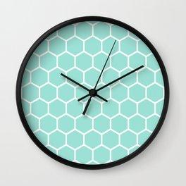Menthol green honeycomb pattern Wall Clock