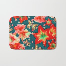 Amaryllis and Butterflies 2 Bath Mat