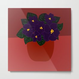 Red Potted African Violets Metal Print