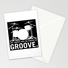 Life, Liberty, and the pursuit of Groove, drummer's drum set silhouette illustration Stationery Cards