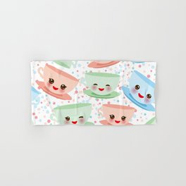 Cute blue pink green Kawai cup, coffee tea with pink cheeks and winking eyes, polka dot background Hand & Bath Towel