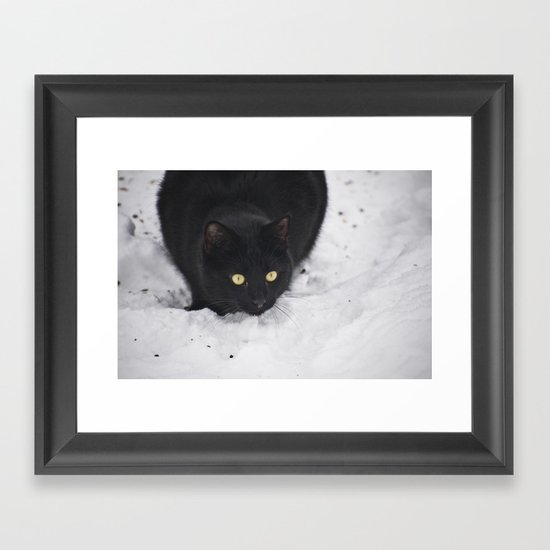 Black cat in a snow Framed Art Print
