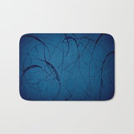 Pollock Inspired Blues Party Bath Mat